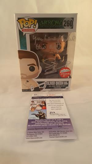 CW Arrow Oliver Queen Fugitive Toys Exclusive JSA Certified Stephen Amell Autograph Funk Pop