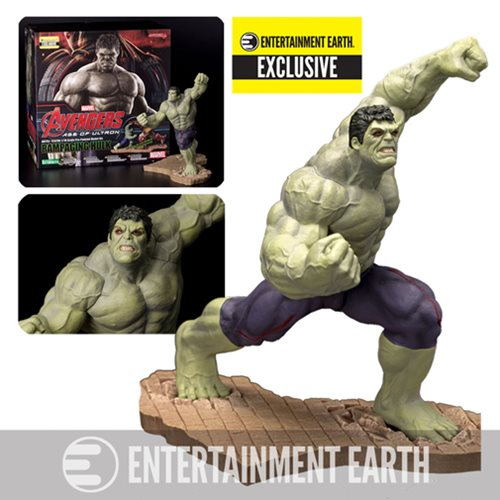 Entertainment Earth Exclusive - Rampaging Hulk variant! Bruce Banner's under the spell of the Scarlet Witch! Incredible detailing and unique paintwork you won't find anywhere else! 9 1/2-inch tall statue features a fierce battle pose. Pair it with the Avengers: Age of Ultron Hulkbuster Iron Man Mark 44 ArtFX Statue!