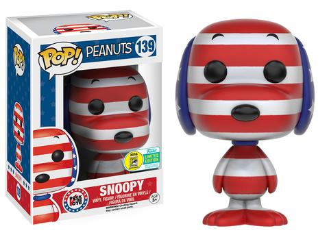 SNOOPY PATRIOT PATRIOTIC SDCC EXCLUSIVE 2016 FUNKO POP VINYL PEANUTS ANIMATION CHARLIE BROWN